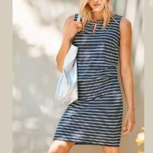 ATHLETA Navy Striped Vida Shift Dress Medium